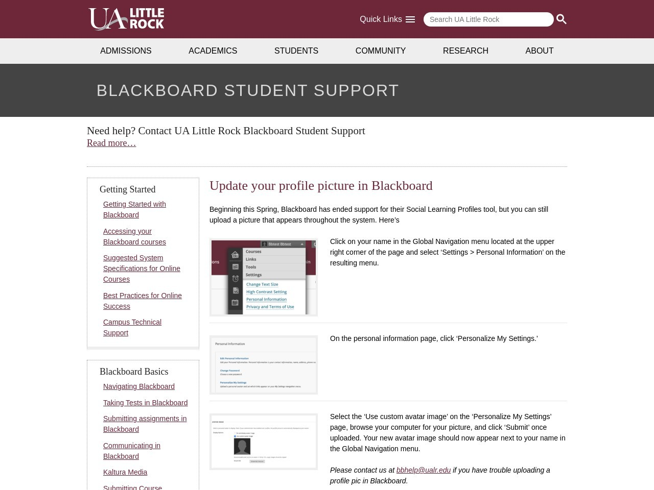 Update your profile picture in Blackboard - University of ...