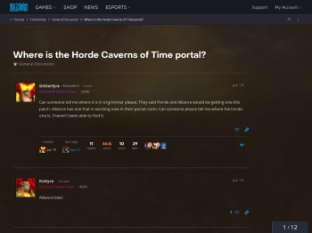 Where is the Horde Caverns of Time portal? - General ...
