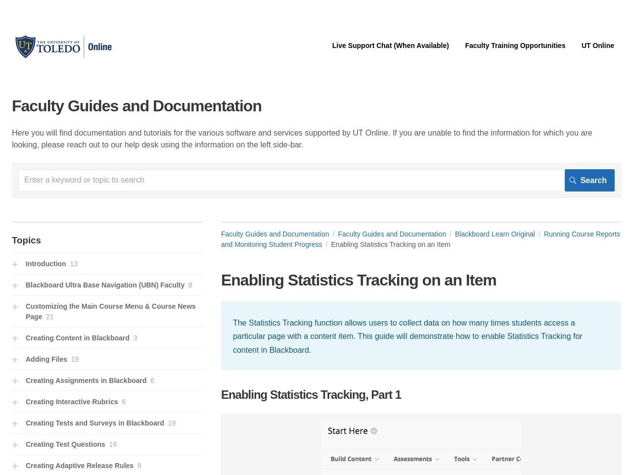 Enabling Statistics Tracking on an Item | Blackboard Learn ...
