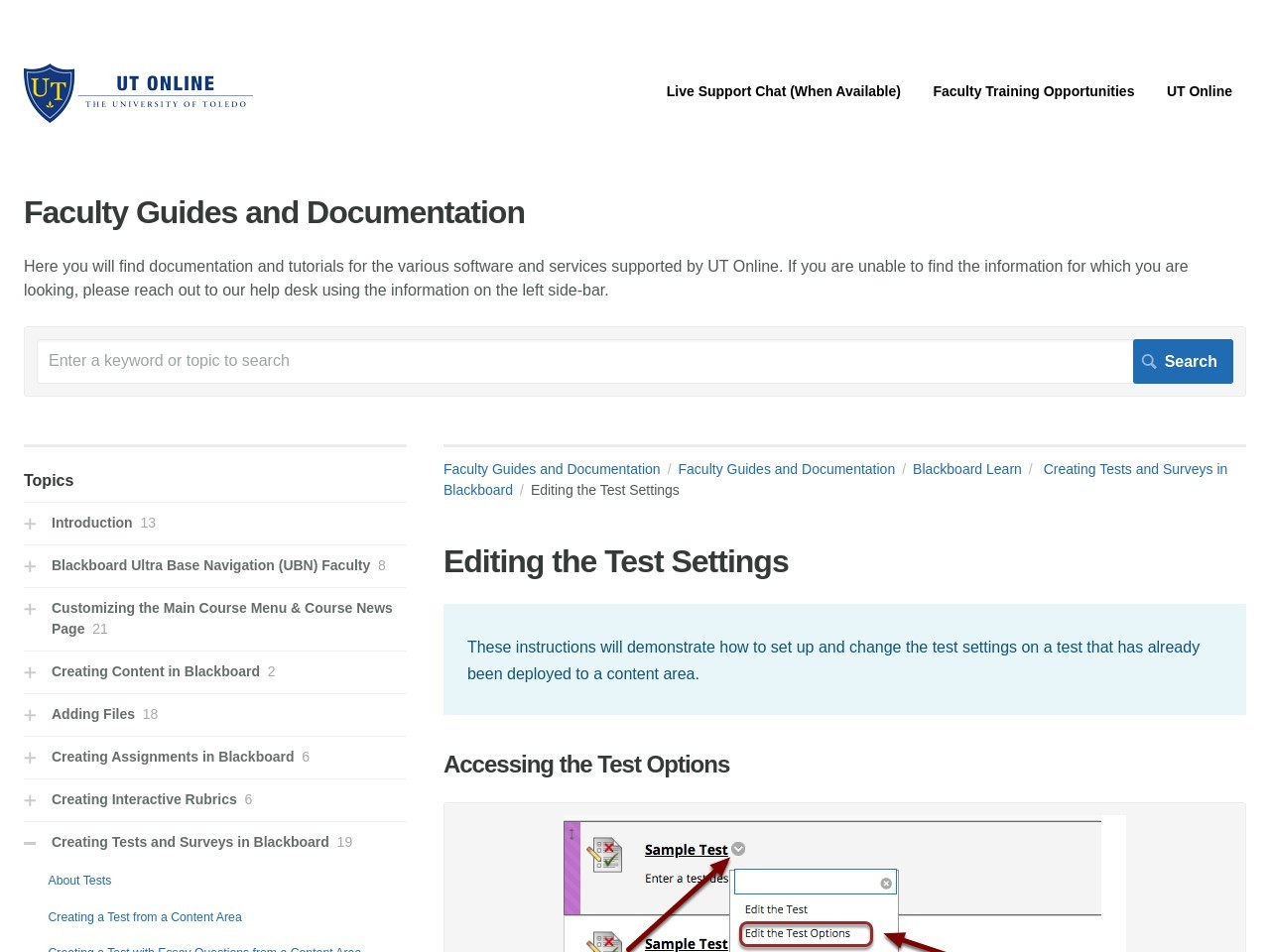 Editing the Test Settings   Blackboard Learn   Faculty Guides ...