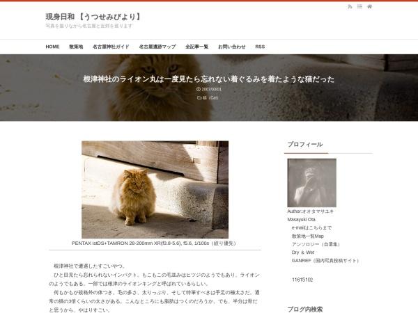 根津神社のライオン丸は一度見たら忘れない着ぐるみを着たような猫だった