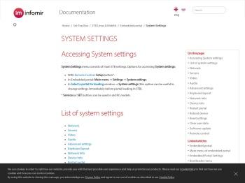 System Settings | STB Linux & WebKit Embedded portal ...