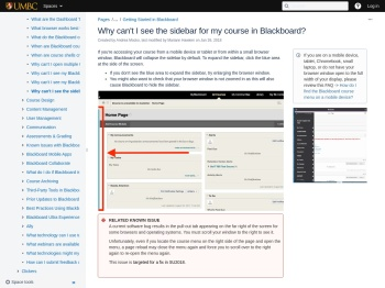 Why can't I see the sidebar for my course in Blackboard?