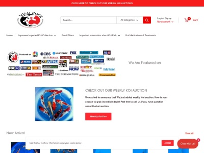screenshot of Wild Rock Koi & Exotic Fish Imports's homepage