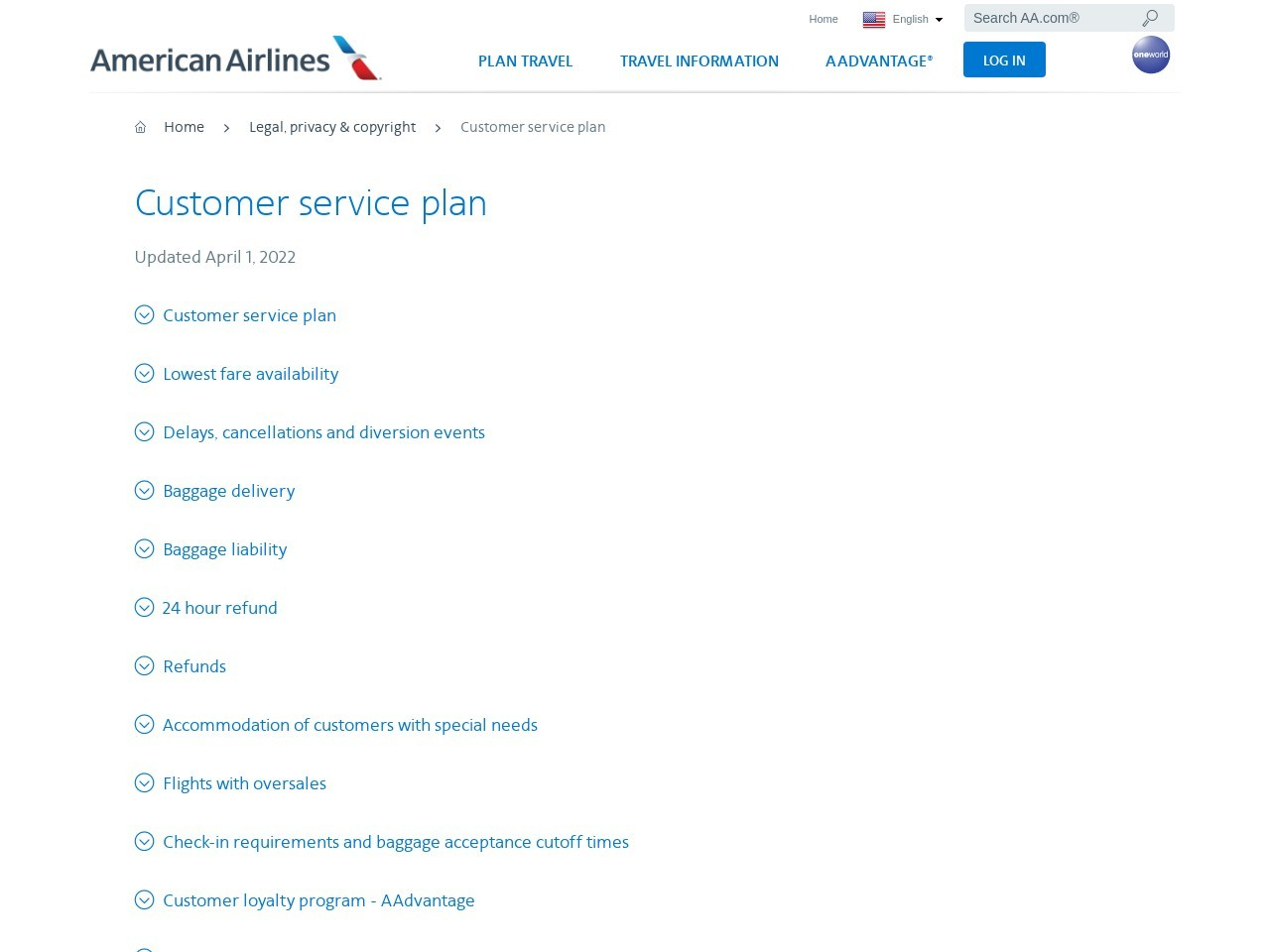 Customer service plan − Support − American Airlines