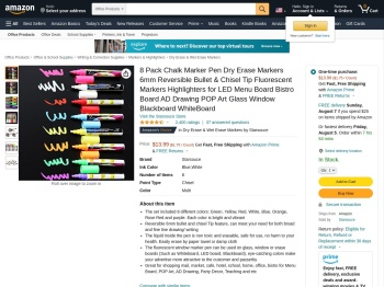 8 Pack Chalk Marker Pen Dry Erase Markers ... - Amazon.com