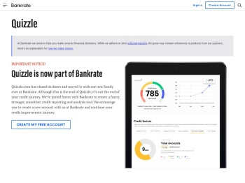 Quizzle is now Bankrate | Sign up for a Free Credit Report