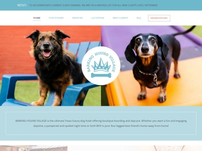 screenshot of Barking Hound Village's homepage