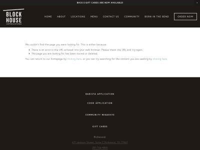screenshot of Blockhouse Coffee Kitchen's homepage