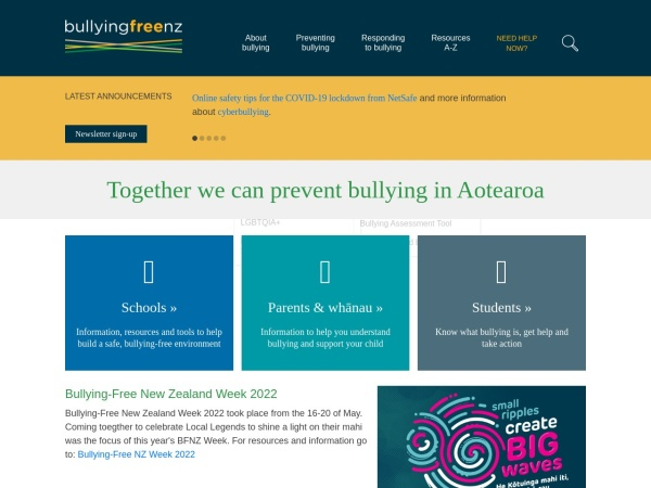 Screenshot of Bullying Free NZ