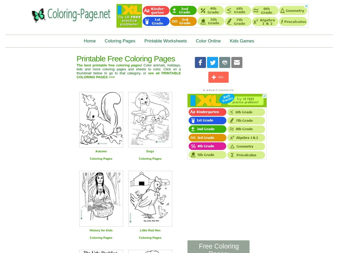 Free Coloring Pages, Printable Kids Worksheets at Coloring-Page.net