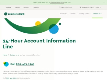 24 Hour Account Information Phone Number | Commerce Bank