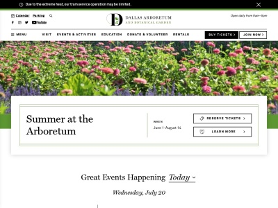 screenshot of The Dallas Arboretum and Botanical Garden's homepage