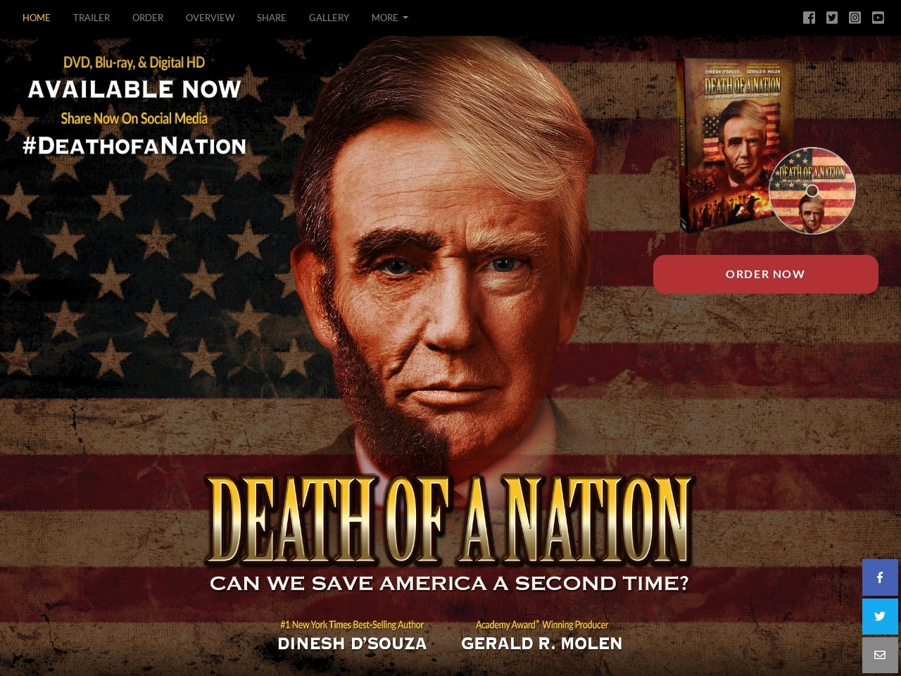 Screenshot of the website Death of a Nation