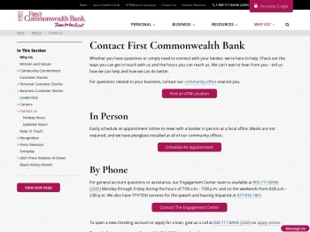 Contact us - First Commonwealth Bank
