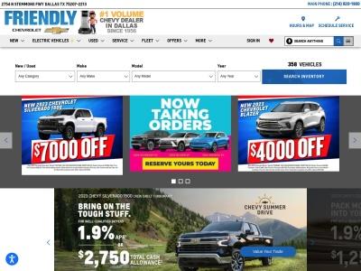 screenshot of Friendly Chevrolet's homepage