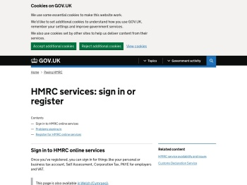 HMRC services: sign in or register - GOV.UK
