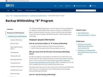 "Backup Withholding ""B"" Program | Internal Revenue Service"