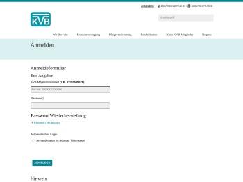 KVB-Internet - Anmelden
