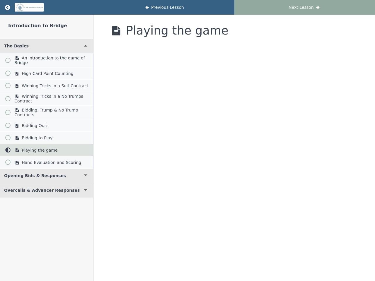 Bridge Lessons Sydney