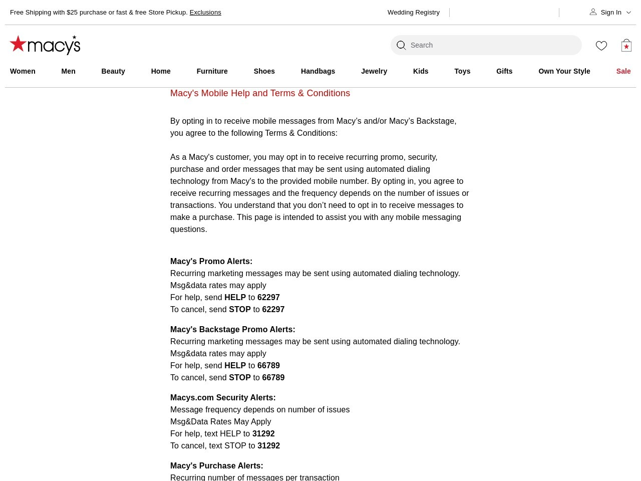 Macy's Mobile Help and Terms & Conditions