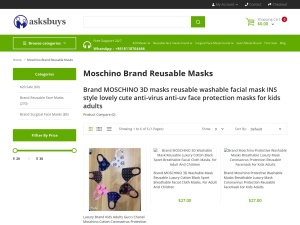 Brand Moschino masks ins style lovely cute face coverings windproof reusable cloth mask