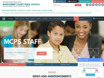 For Staff - Montgomery County Public Schools, Rockville, MD