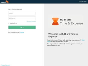 Bullhorn Time & Expense Logon