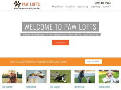 screenshot of Paw Lofts's homepage