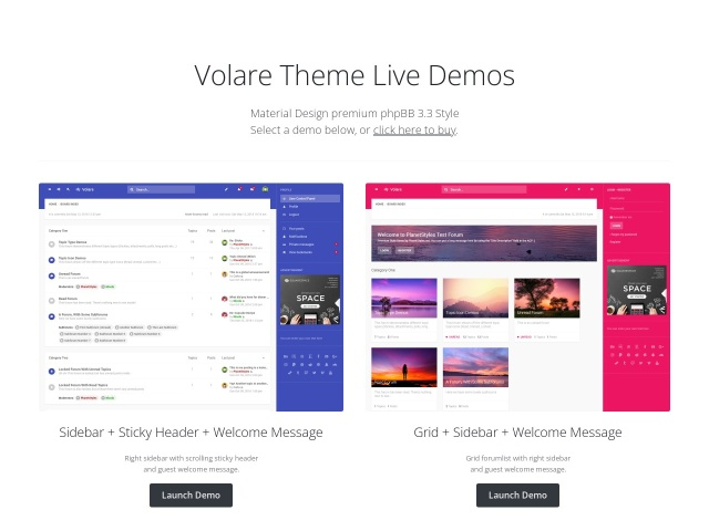 Volare - Material Design phpBB 3.2 Theme (Responsive) Screenshots