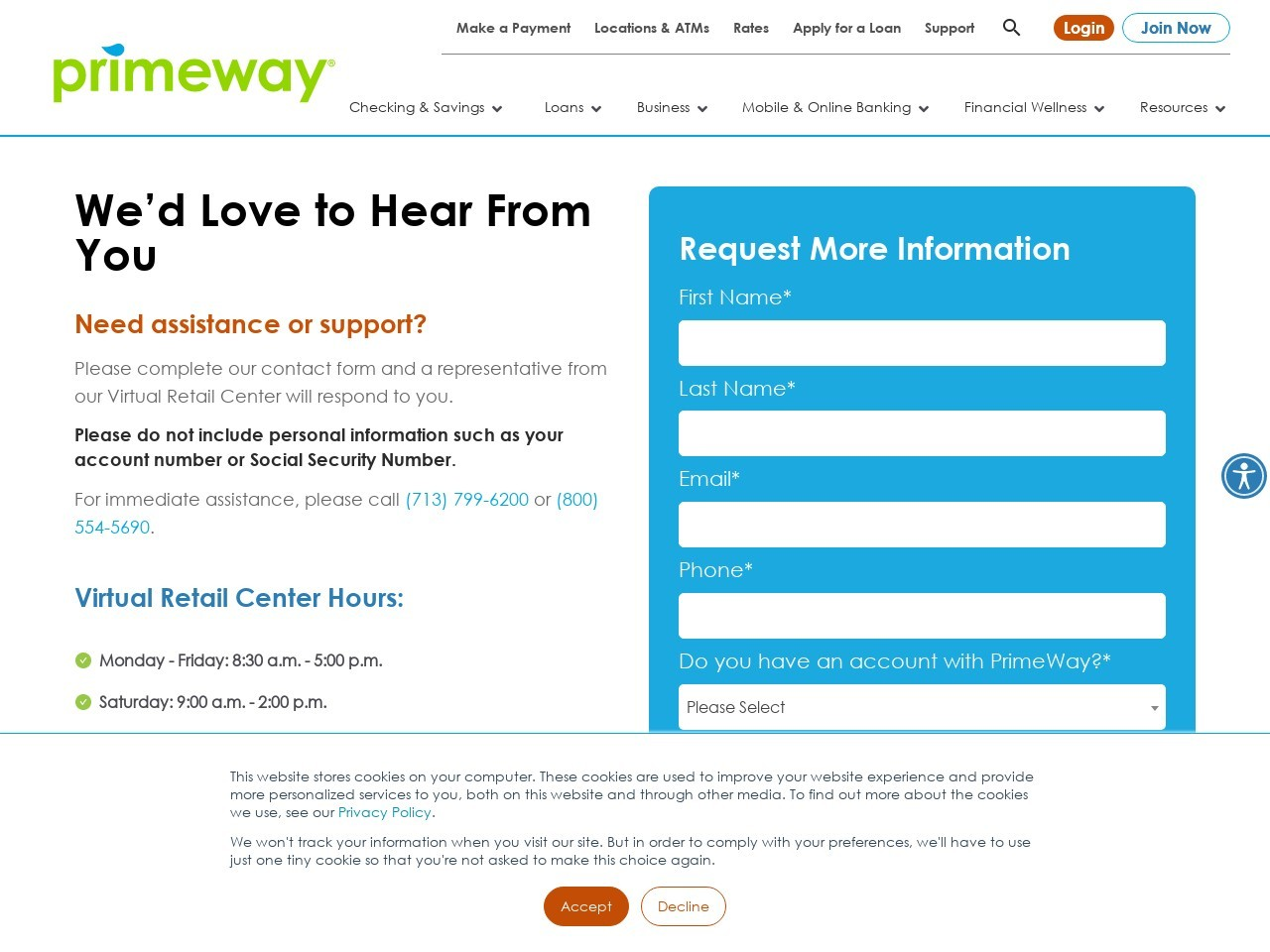 Contact Us   PrimeWay Federal Credit Union