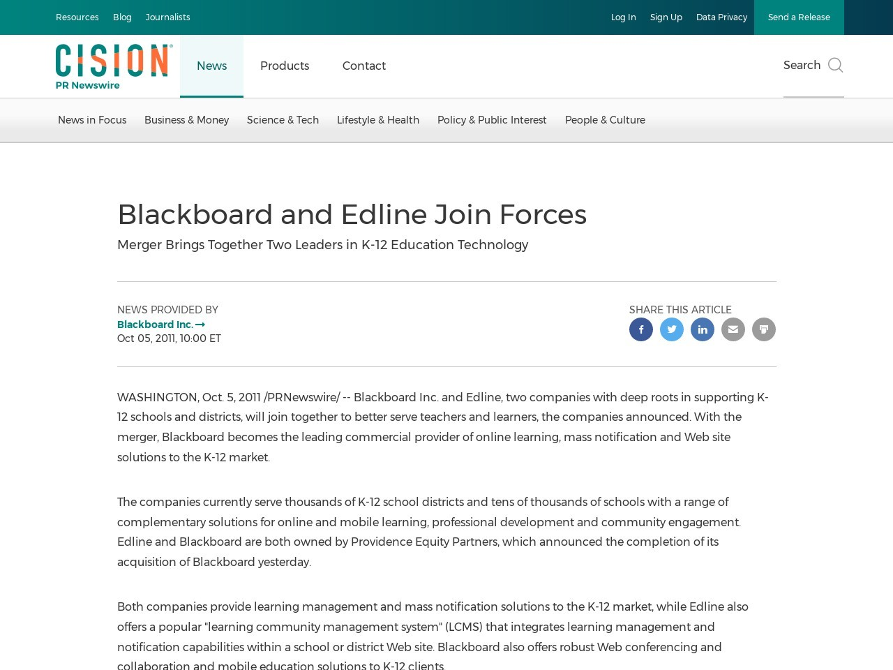 Blackboard and Edline Join Forces - PR Newswire