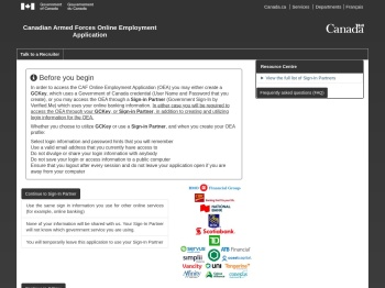 Canadian Armed Forces Online Employment Application