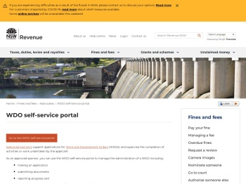 WDO self-service portal   Revenue NSW