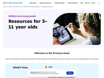 Screenshot of The Primary Zone - Resources for 3-11s - Safer Internet Centre, UK
