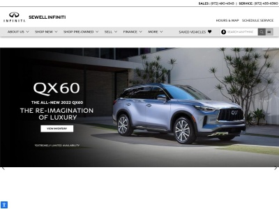 screenshot of Sewell INFINITI of Dallas's homepage