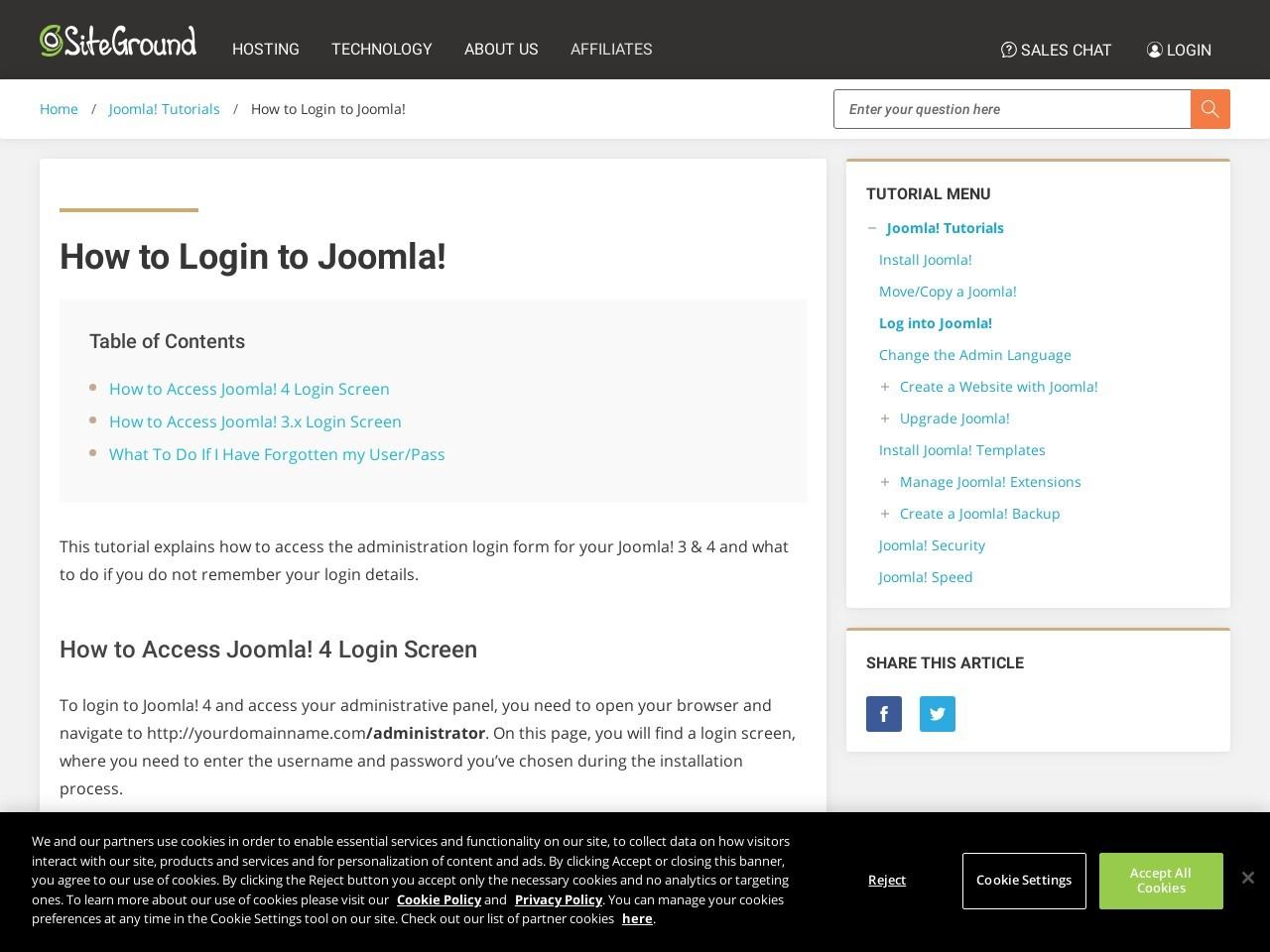 How to Login to Joomla! - SiteGround