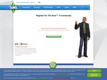 register an account - The Sims 3