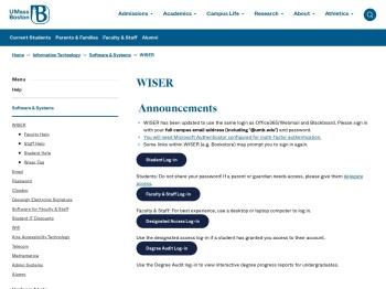 log into Wiser - UMass Boston