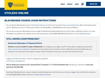Blackboard Course Login Instructions - The University of Toledo
