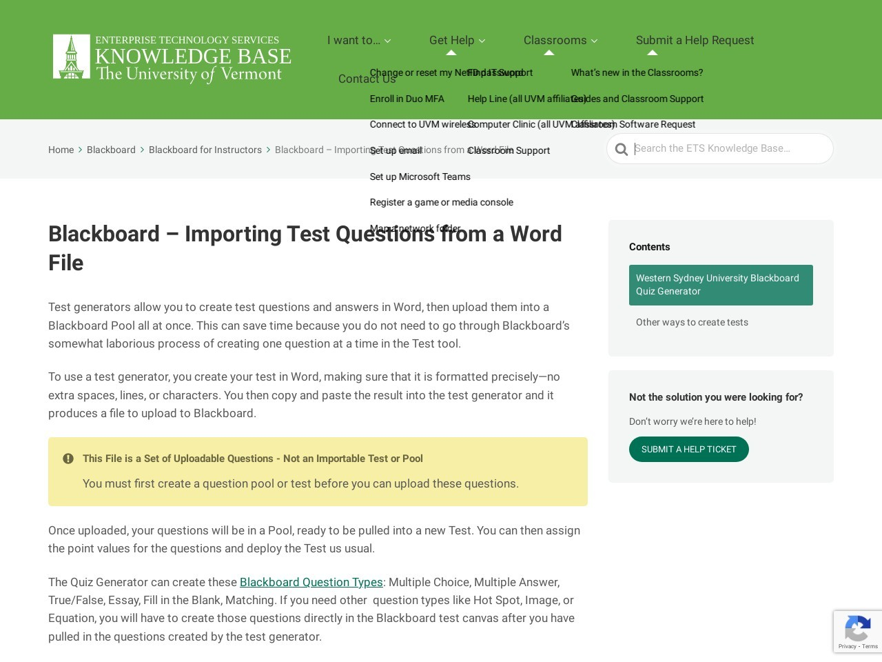 Blackboard – Importing Test Questions from a Word File - The ...