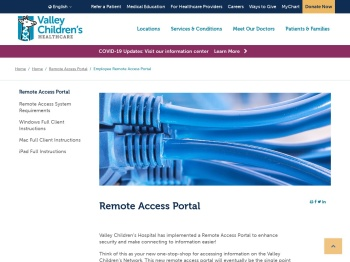 Employee Remote Access Portal - Valley Children's Hospital