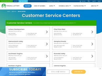 Virginia Lottery Customer Service Centers