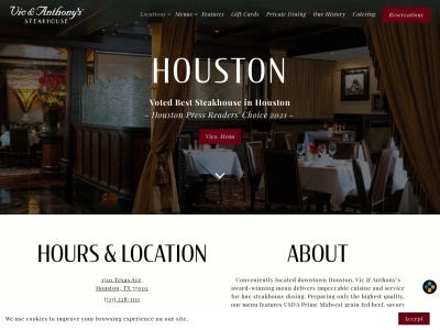 screenshot of Vic & Anthony's Steakhouse's homepage