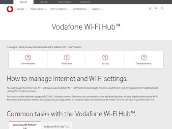 Vodafone Wi-Fi Hub Settings and Updates