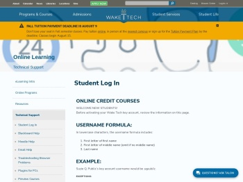 Student Log In   Wake Technical Community College