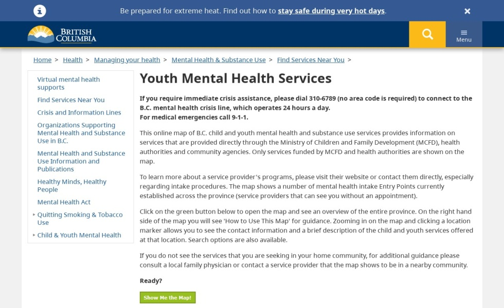 Youth Mental Health and Substance Use Services Map