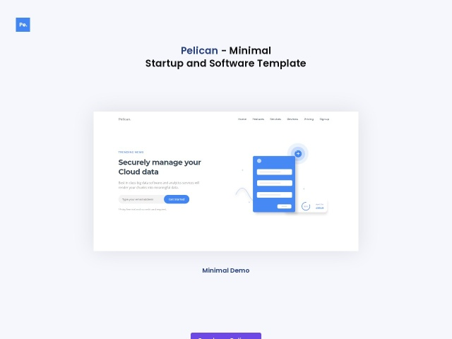 Pelican Startup and Software Landing Page Screenshots